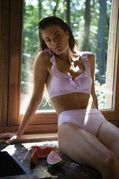 Beachlife Lilac Check Bikini bovenstuk ruffle