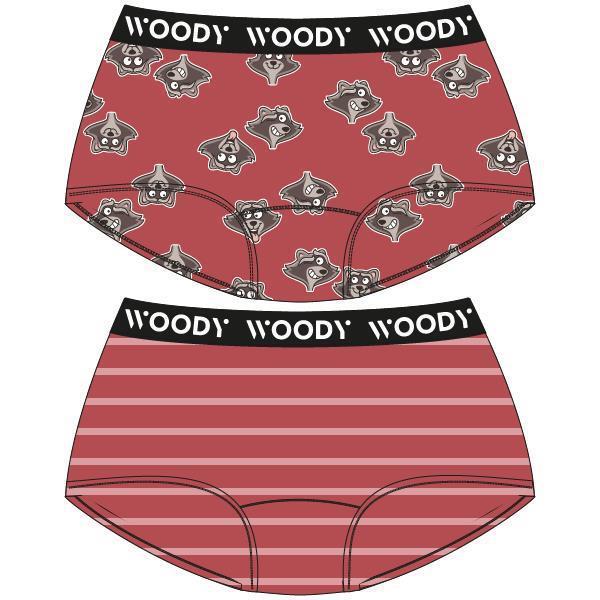 Woody Color Meisjesshort DUOpack print wasbeer