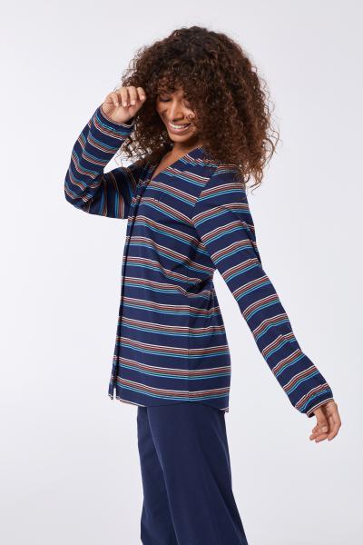 Woody Kip Pyjama dames doorknoop