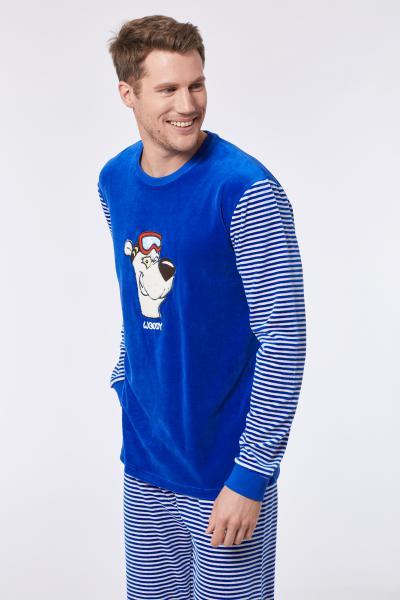 Woody Ijsbeer Pyjama heren velours