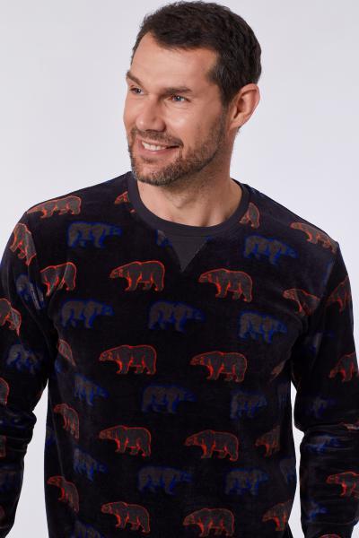 Woody Ijsbeer Allover Pyjama Heren velours