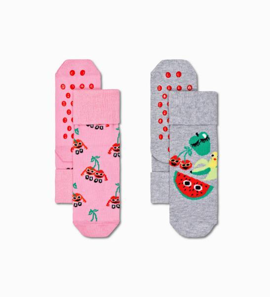 Happy Socks Kids Fruit Anti-slip kousen 2 paar