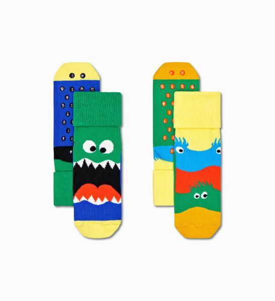 Happy Socks Kids  Monsters Anti-slip kousen 2 paar